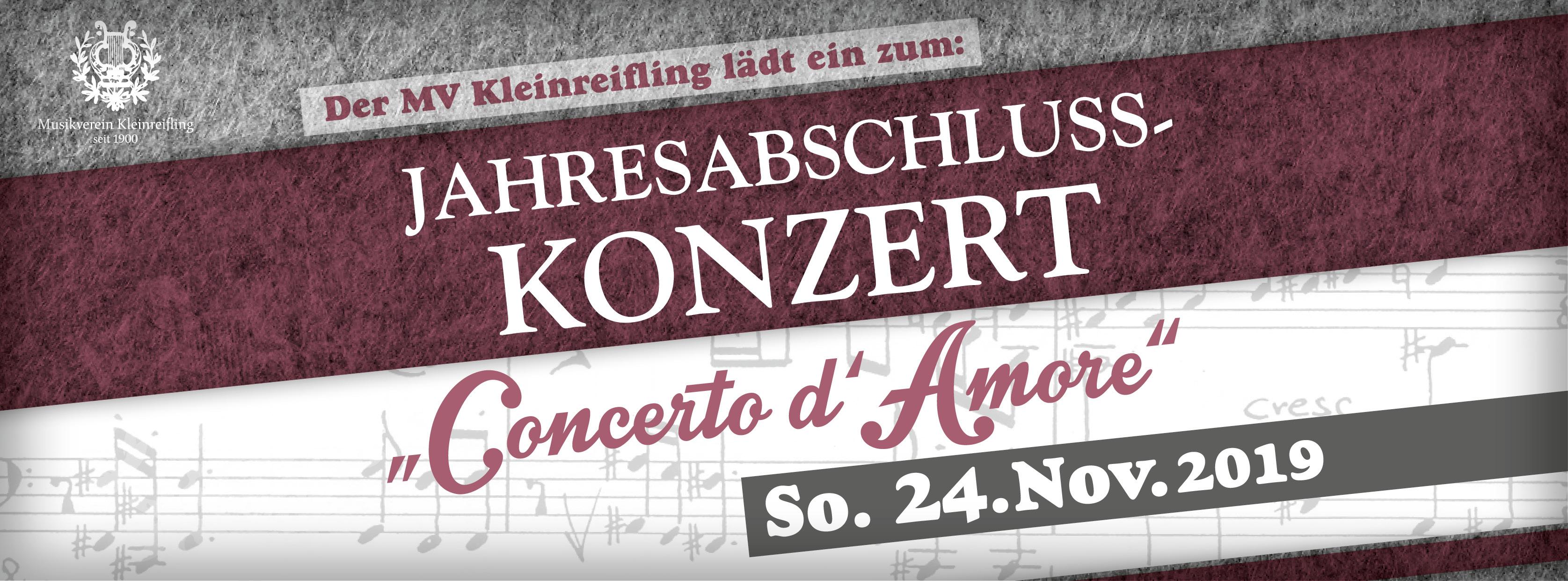 """Der MV Kleinreifling lädt ein zum Jahresabschlusskonzert """"Concerto d'Amore, So. 24. November 2019"""