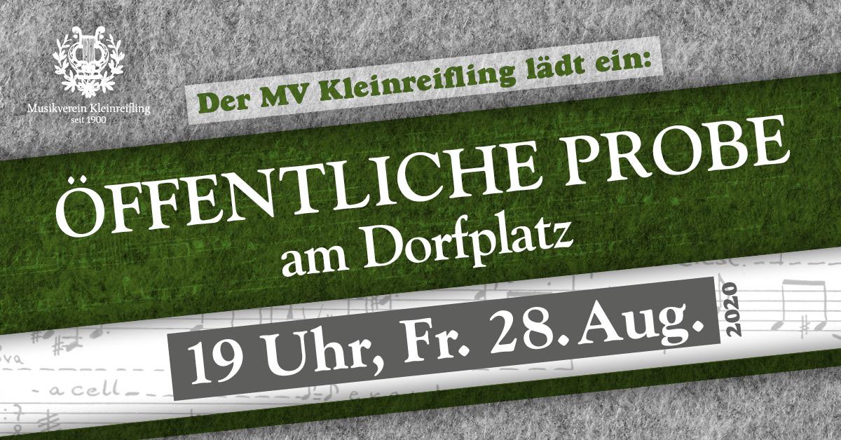 Öffentliche Probe am Dorfplatz, 19 Uhr, Fr. 28. August 2020